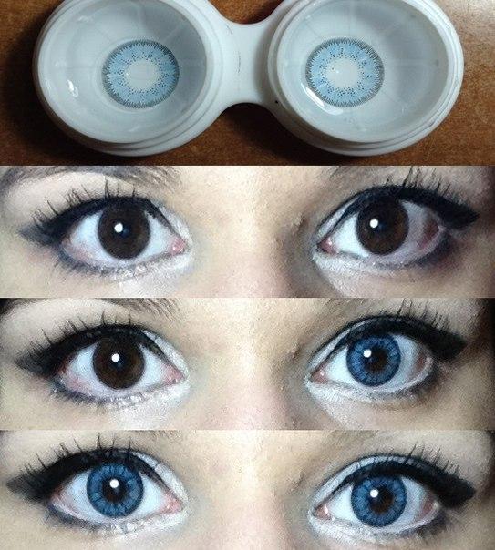 Фото - как голубые линзы смотрятся на карих глазах