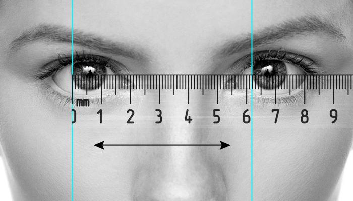 измерение межзрачкового расстояния с атрофией глаза