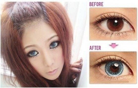 Размер глаз с линзами и без них