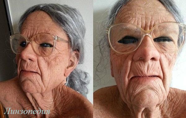 Фото черных склеральных линз. Как видим, возраст здесь не помеха.