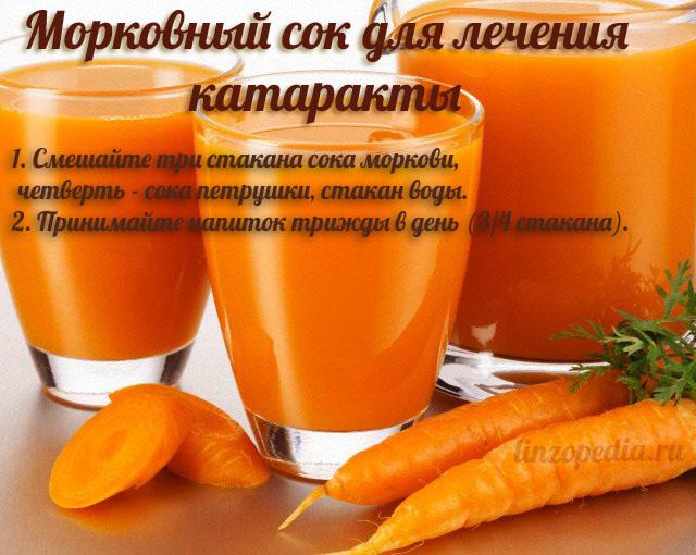 Морковный сок для лечения катаракты