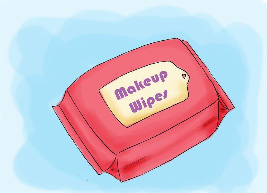 Вначале нужно удалить макияж