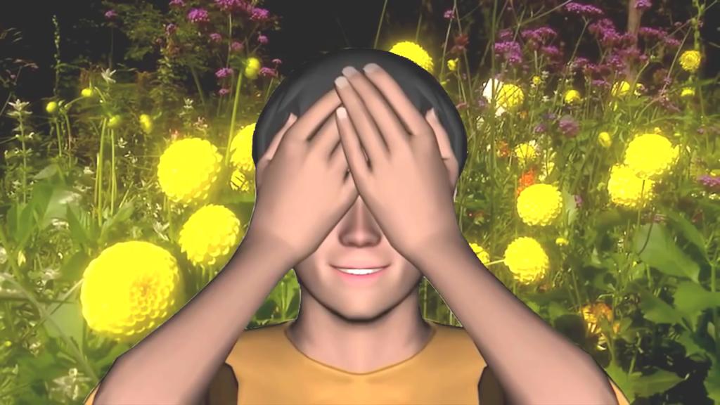 Глаза закрыты ладонями
