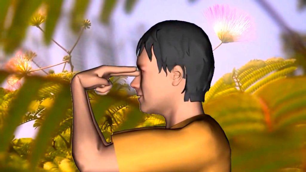 Указательный и средний пальцы обеих рук подводятся к глазным яблокам перпендикулярно
