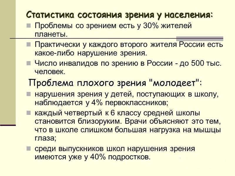 Статистика состояния зрения у населения
