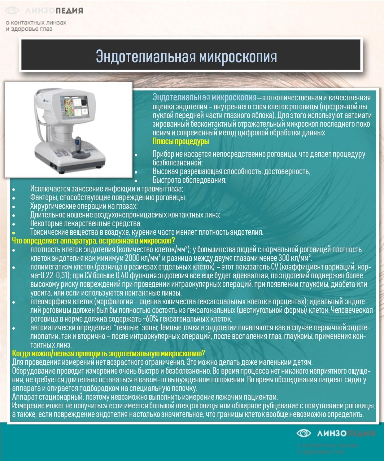 Эндотелиальная микроскопия роговицы