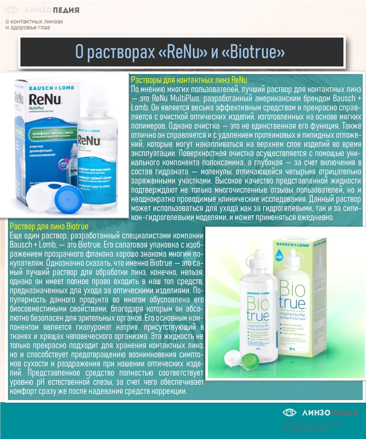 Растворы «ReNu» и «Biotrue»