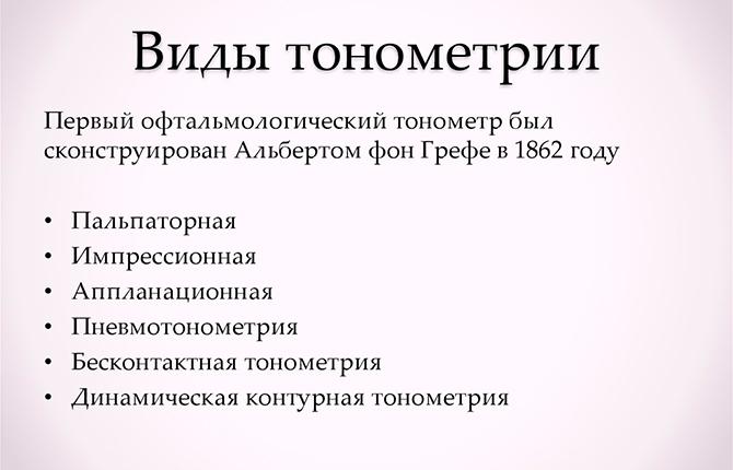 Виды тонометрии
